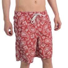 3-Pocket Swim Trunks (For Men) in Red/White Paisley Print - 2nds