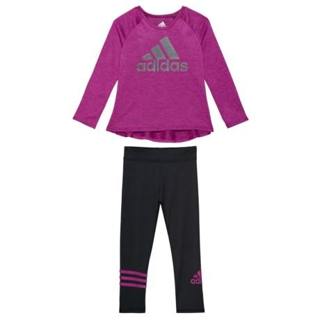 Image of 3-Stripe Tight Sport Shirt and Leggings Set - Long Sleeve (For Toddler Girls)