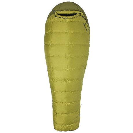 Closeout. Filled with water-resistant 650 fill power goose down, Marmotand#39;s 30and#176;F Radium down sleeping bag can be zipped open like a book to convert it to a flat blanket. Available Colors: DARK CITRON/MILITARY GREEN.