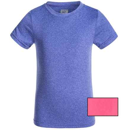 32 Degrees Cool Base Layer Top - 2-Pack, Short Sleeve (For Kids) in Heather Neon Pink/Heather Fig - Closeouts