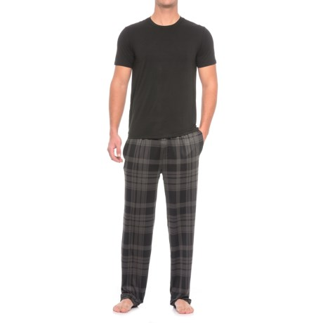 32 Degrees Cool Knit Shirt and Pants Set - Short Sleeve (For Men) in Black/Dark Grey Plaid