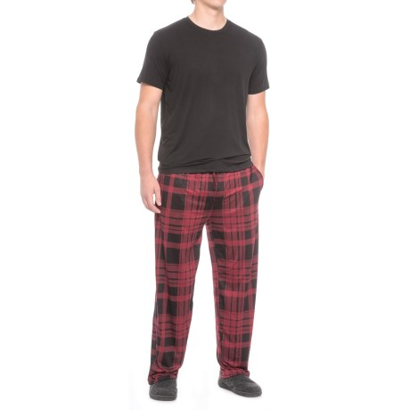 32 Degrees Cool Knit Shirt and Pants Set - Short Sleeve (For Men) in Black/Wine Plaid