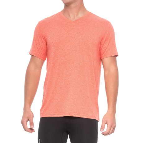 32 Degrees Cool V-Neck T-Shirt - Short Sleeve (For Men) in Heather Spice Orange