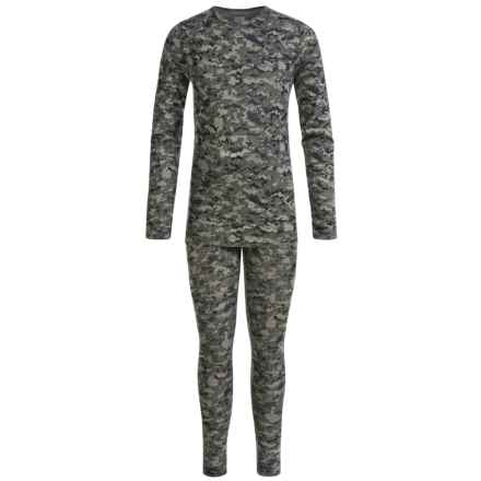 32 Degrees Heat Base Layer Set - Long Sleeve (For Little and Big Kids) in Green Camo - Closeouts