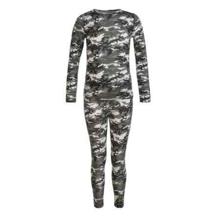 32 Degrees Heat Base Layer Set - Long Sleeve (For Little and Big Kids) in Grey Camo - Closeouts