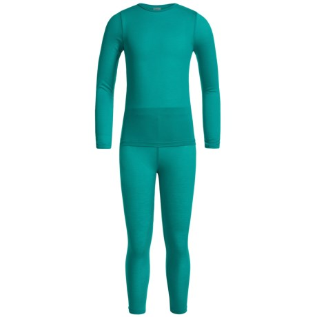 32 Degrees Heat Base Layer Set - Long Sleeve (For Little and Big Kids) in Jade Green