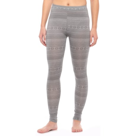 32 Degrees Heat Thermal Base Layer Pants (For Women) in Heather Grey Fairisle