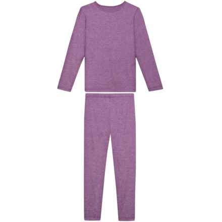 32 Degrees Heather Fiction Fig Knit Base Layer Set - Long Sleeve, 2-Piece (For Little and Big Girls) in Heather Fiction Fig - Closeouts