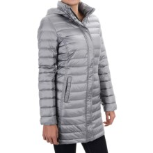 32 Degrees Packable Long Down Jacket - 650 Fill Power, Hooded (For Women) in Sleet Grey - Closeouts