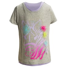3D Embellished T-Shirt - Short Sleeve (For Infant and Toddler Girls) in Grey Zebra - 2nds