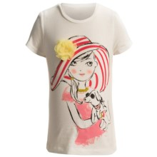 3D Embellished T-Shirt - Short Sleeve (For Infant and Toddler Girls) in White Girl W/Dog - 2nds