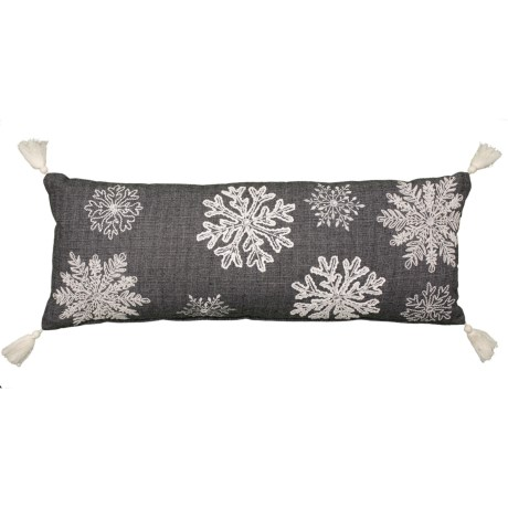 Image of 3D Embroidered Snowflake Woven Felt Throw Pillow