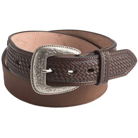 3D Leather Western Belt (For Men) in Tan
