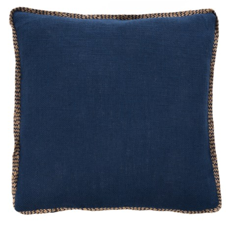 "425 South Los Angeles Jute-Trim Throw Pillow - 20x20"", Feathers in Navy"