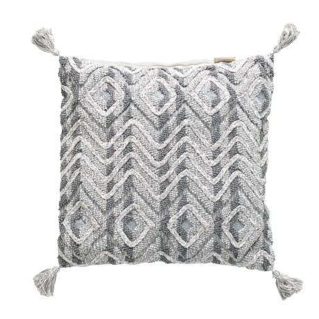 "425 South Los Angeles Mindo Silver Embroidered Throw Pillow - 22x22"", Feathers in Silver"