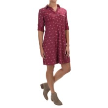 4OUR Dreamers A-Line TENCEL® Dress - Long Sleeve (For Women) in Crimson Birds - Overstock