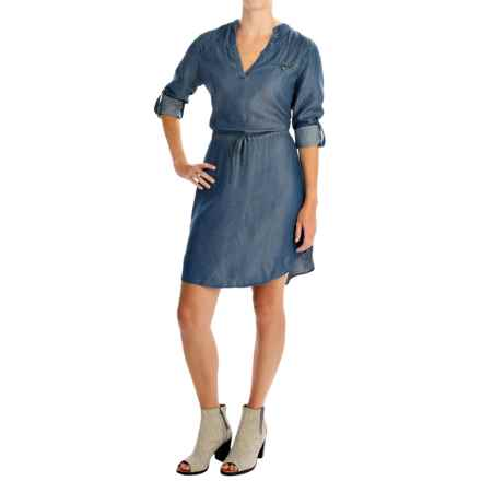 4OUR Dreamers Chambray Drawstring Shirtdress - TENCEL®, Long Sleeve (For Women) in Dark Indigo - Overstock