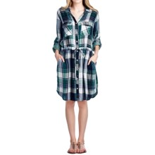 4OUR Dreamers Plaid Rayon Dress - Long Sleeve (For Women) in Blue/Green - Overstock
