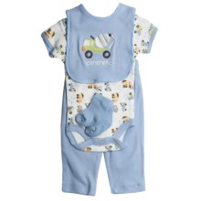 5-Piece Layette Set (For Infants) in Blue Concrete - Closeouts