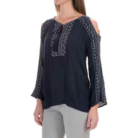 525 America Embroidered Blouse - Rayon, Long Sleeve (For Women) in Navy - Closeouts