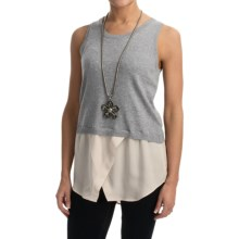 525 america Knit and Chiffon Tank Top (For Women) in Navy Combo - Closeouts