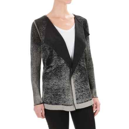 525 America Spray-Dye Wrap Cardigan Sweater - Cotton-Cashmere (For Women) in Black - Closeouts