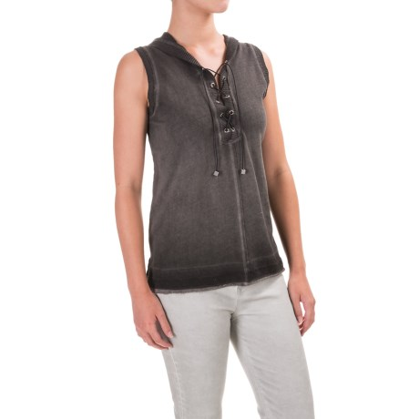 525 America Spray-Dyed Hoodie - Front Lace, Sleeveless (For Women) in Black