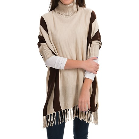 525 America Turtleneck Poncho Merino Wool Dolman Sleeve For Women