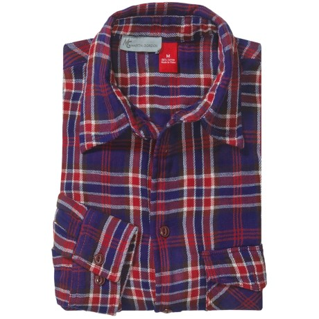 548 Double-Faced Flannel Shirt - Long Sleeve (For Men) in Dark Navy/Red