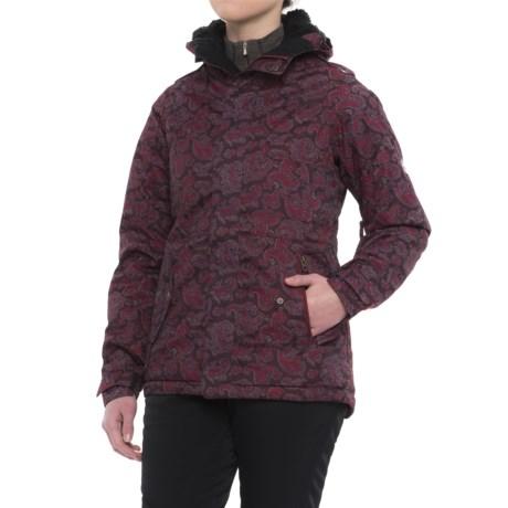 686 Authentic 4EVA-After Jacket - Waterproof, Insulated (For Women) in Wine Paisley Herringbone