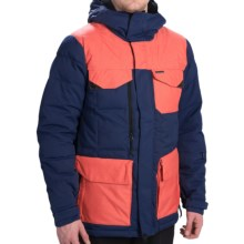 686 Parklan Preserve Down Snowboard Jacket - Waterproof, 600 Fill Power (For Men) in Indigo Herringbone Dobby - Closeouts