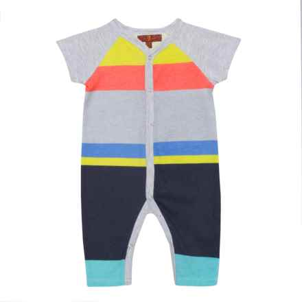 7 for All Mankind Cactus Coveralls - Short Sleeve (For Infant Boys) in Multi Stripe - Closeouts