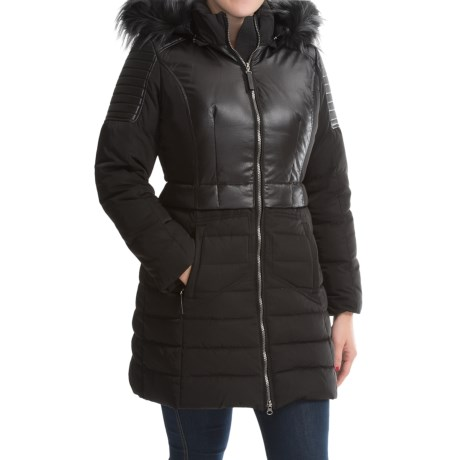 7 for All Mankind Down Puffer Coat Faux Fur Trim For Women