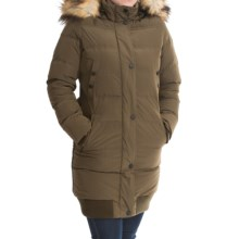 7 For All Mankind Elongated Bomber Coat - Faux-Fur-Trim Hood (For Women) in Olive - Closeouts