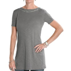 7 for All Mankind Embellished Neck Line Tunic Shirt - Open Back, Short Sleeve (For Women) in Slate