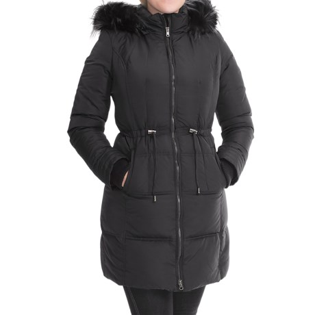7 For All Mankind Quilted Down Anorak Faux Fur Hood For Women