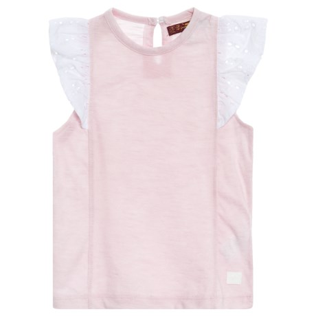 7 for All Mankind Ruffle Sleeve Shirt - Short Sleeve (For Little Girls) in Heather Mary Rose