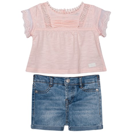 7 for All Mankind Shirt with Denim Shorts - Short Sleeve (For Infant Girls) in Seashell Pink