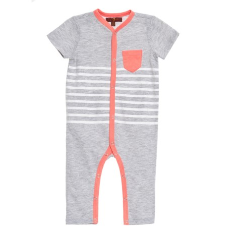 7 for All Mankind Solid and Striped Coveralls - Short Sleeve (For Infant Boys) in Heather Grey