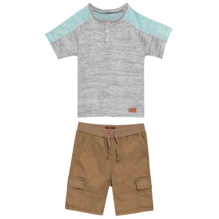 7 for All Mankind T-Shirt and Cargo Shorts Set - 2-Piece, Short Sleeve (For Toddler Boys) in Aqua - Closeouts