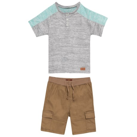 7 for All Mankind T-Shirt and Cargo Shorts Set - 2-Piece, Short Sleeve (For Toddler Boys) in Aqua