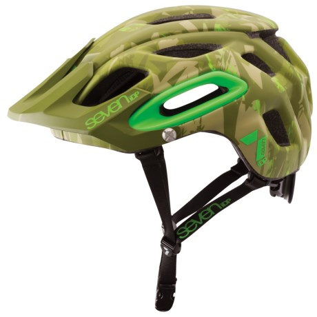 7iDP M2 Cycling Helmet (For Men and Women) in Matte Green Camo/Flo Lime