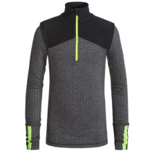 90 Degree by Reflex Color-Block Herringbone Shirt - Zip Neck (For Big Girls) in Charcoal Herringbone/Lime Black - Closeouts