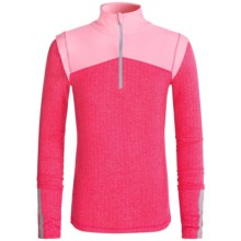 90 Degree by Reflex Color-Block Herringbone Shirt - Zip Neck (For Big Girls) in Molten Pink Herringbone/Light Pink - Closeouts