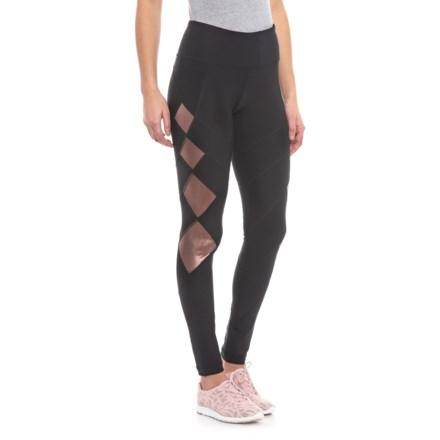 4b4fea4941a3f 90 Degree by Reflex Diamond Mesh Leggings (For Women) in Black/Rose Gold