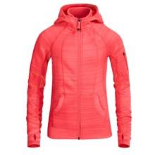 90 Degree by Reflex Fleece Stripe Jacket - Full Zip (For Big Girls) in Guava Stripe - Closeouts