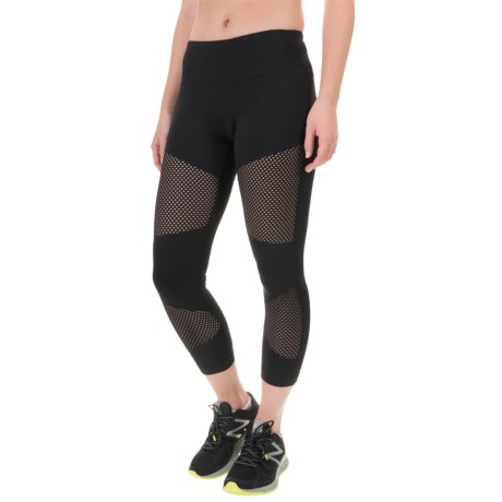90 degree by reflex high waist mesh block capris for women in black