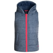 90 Degree by Reflex Hooded Vest - Insulated (For Big Girls) in Heathered Dark Denim - Closeouts