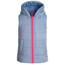 90 Degree by Reflex Hooded Vest - Insulated (For Big Girls) in Heathered Light Denim - Closeouts