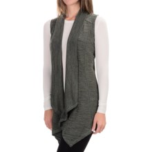 90 Degree by Reflex Open-Front Cardigan Sweater - Sleeveless (For Women) in Heather Olive - Closeouts